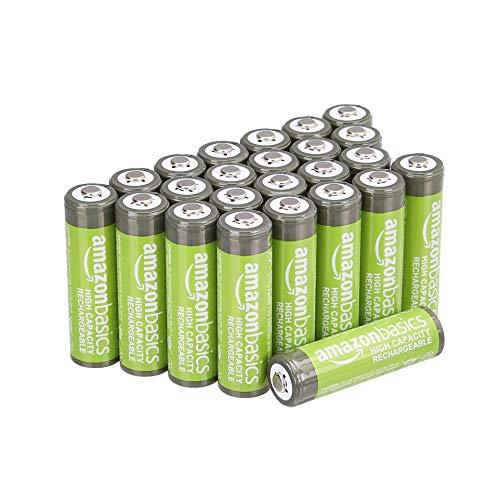 24× AmazonBasics – AA-Batterien mit hoher Kapazität, wiederaufladbare Akkus, 2400 mAh, vorgeladen = €1,24/Batterie
