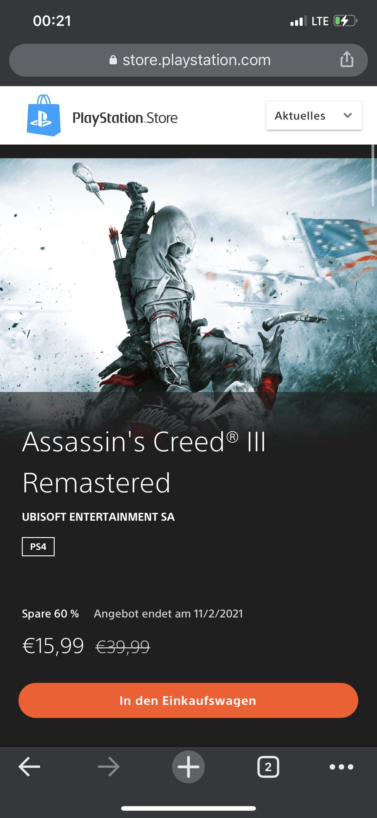 Assassin's Creed® III Remastered (PSN Store)