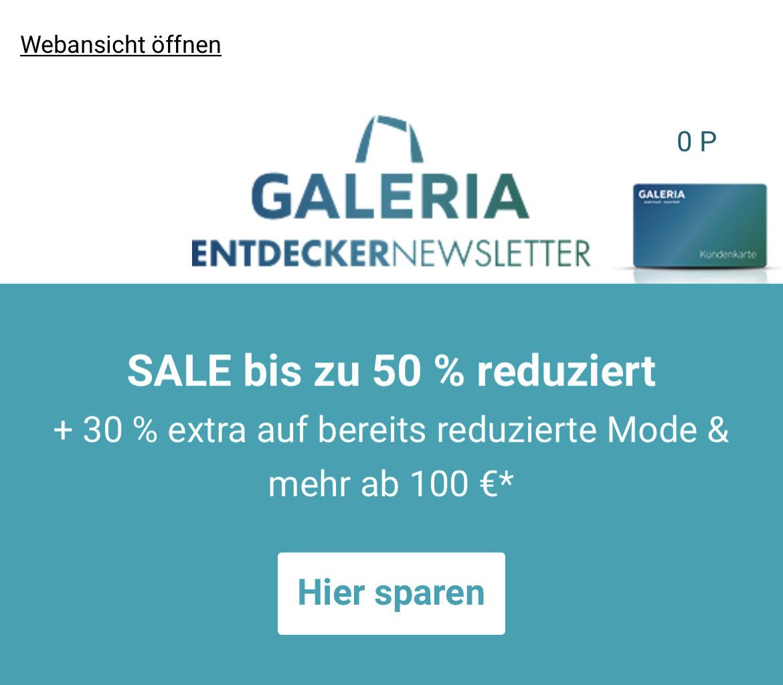 Galeria Karstadt Kaufhof Aktion -30% auch auf Reduziertes (ab 100€ Warenwert) zB Tom Tailor Steppmantel