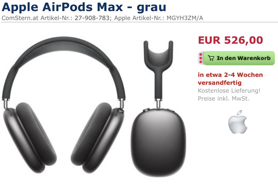 Apple Airpods Max Kopfhörer alle Farben für 536€ inkl. Versandkosten (mit D-A-Packs) [Vorbestellung]