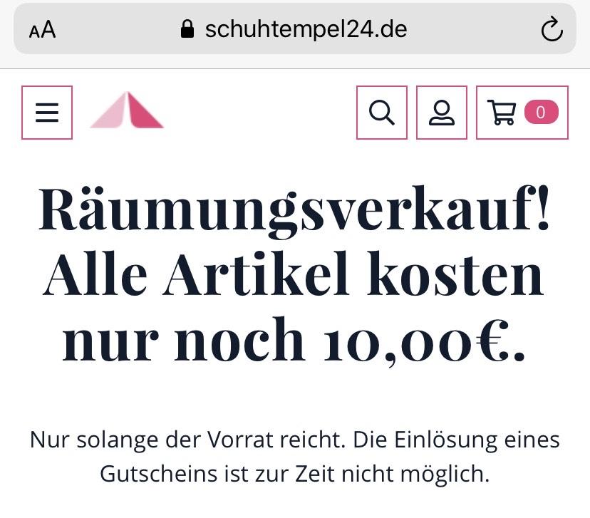 Jeder Artikel bei schuhtempel24.de für 10€