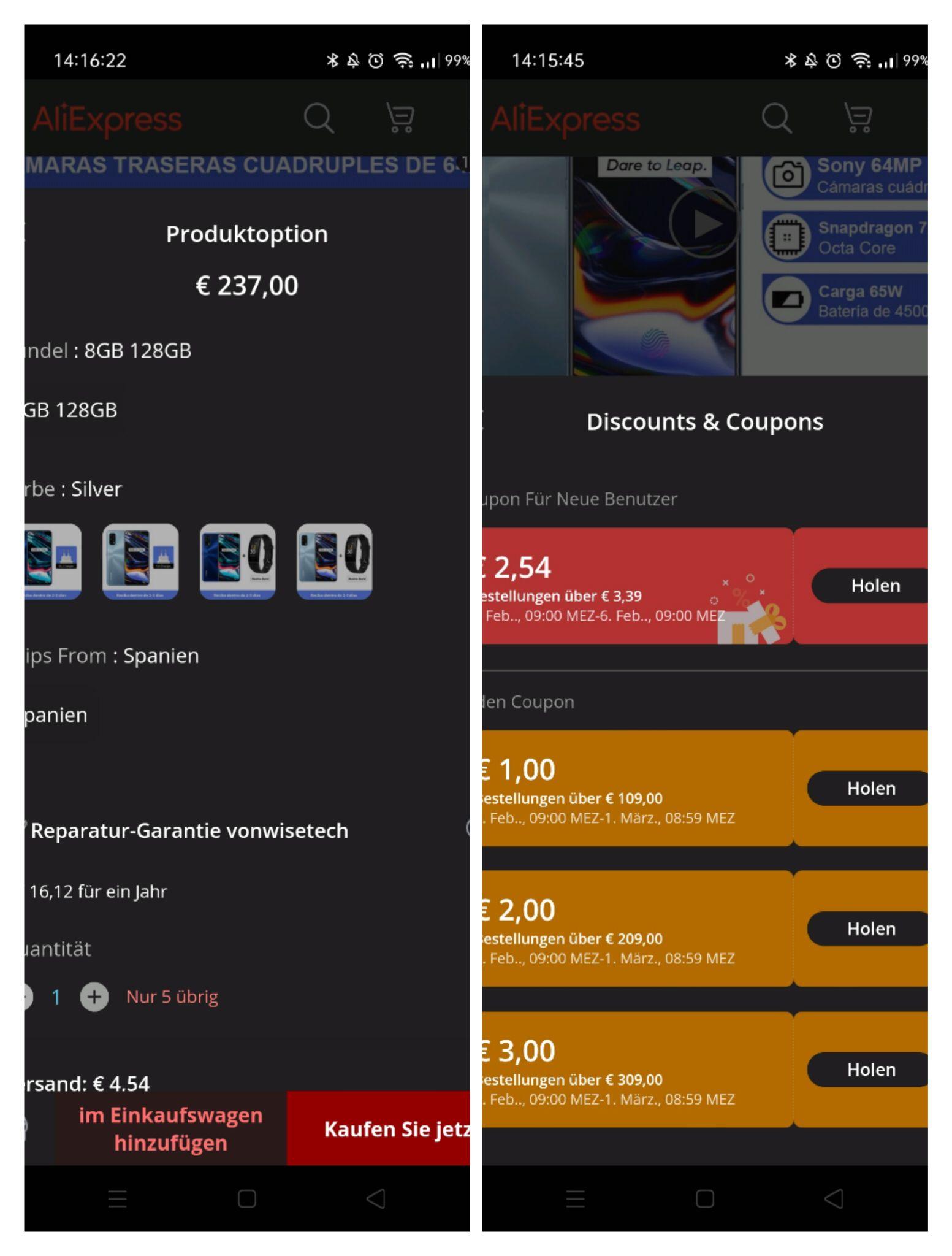 Realme 7 Pro 8/128GB Amoled 65W-Laden, zollfrei EU Lager, Coupons anwählen um Versandkosten sparen, mit PayPal bezahlen