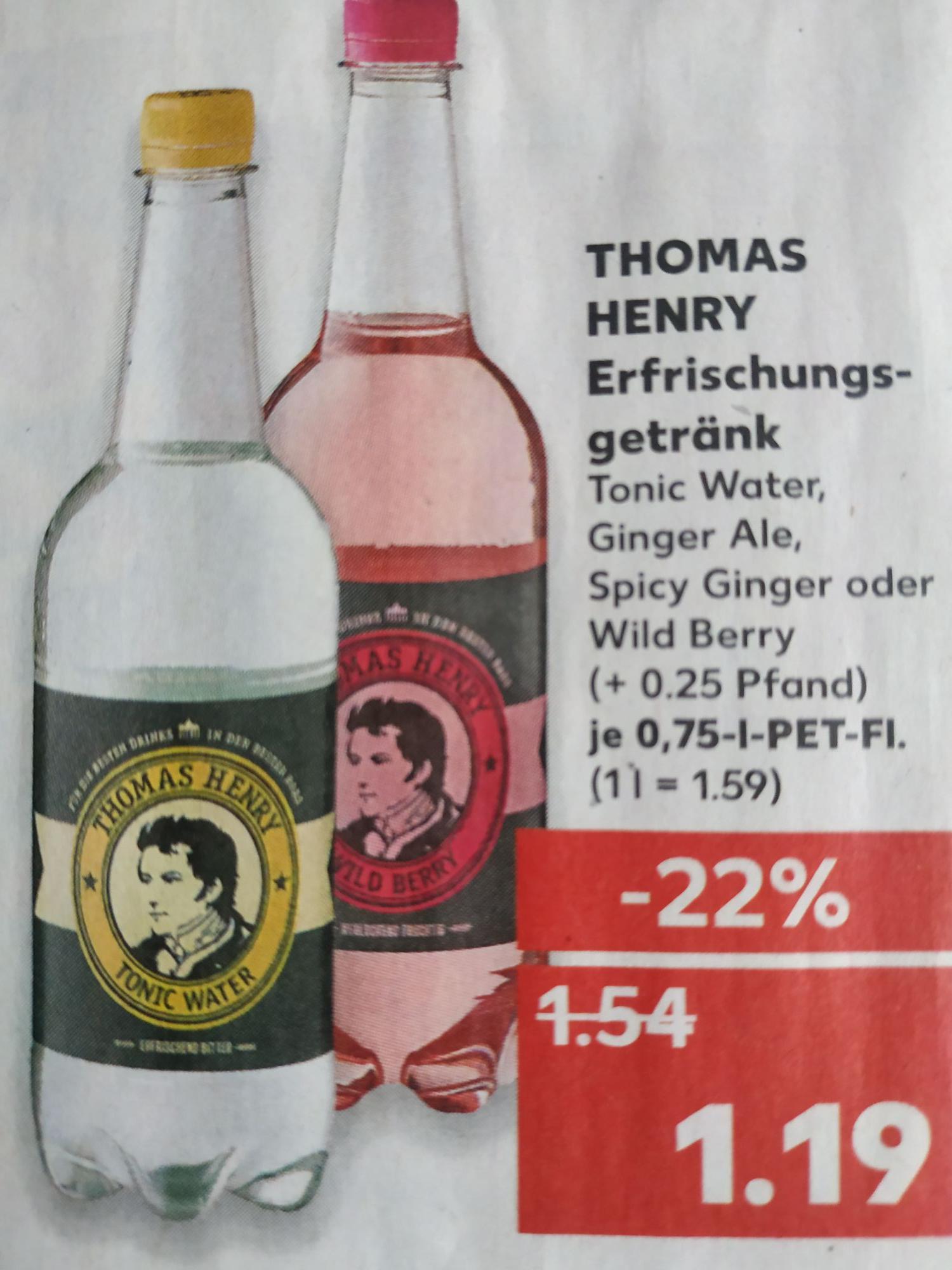[Kaufland] Thomas Henry Tonic Water - versch. Sorten