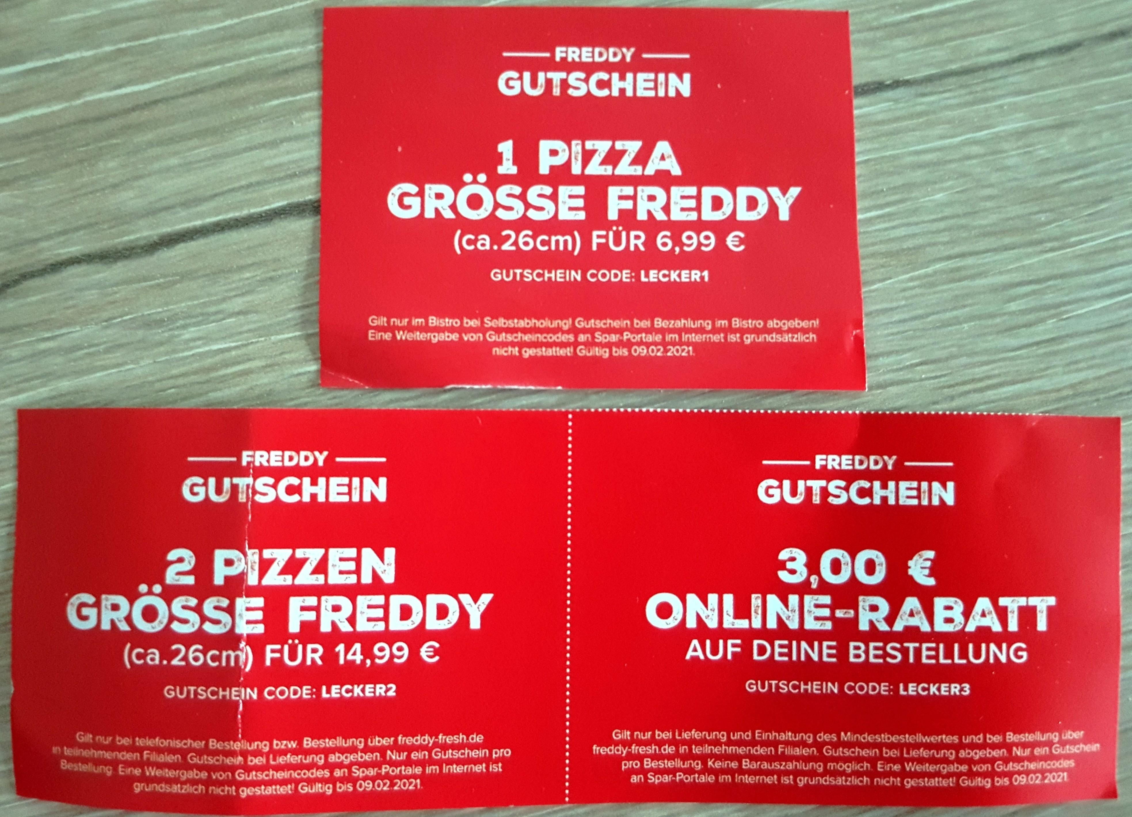 FREDDY FRESH Gutscheine (nicht in allen Shops)