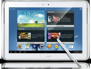 Samsung Galaxy Note 10.1 (white) mit 3G und Internet Flat 20 € monatlich + 64 GB Speicherkarte