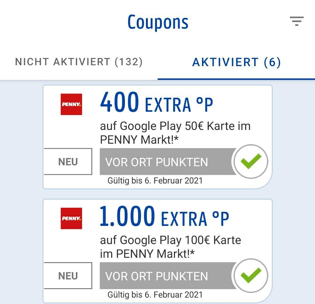 Payback für Google Play Guthaben bei Penny