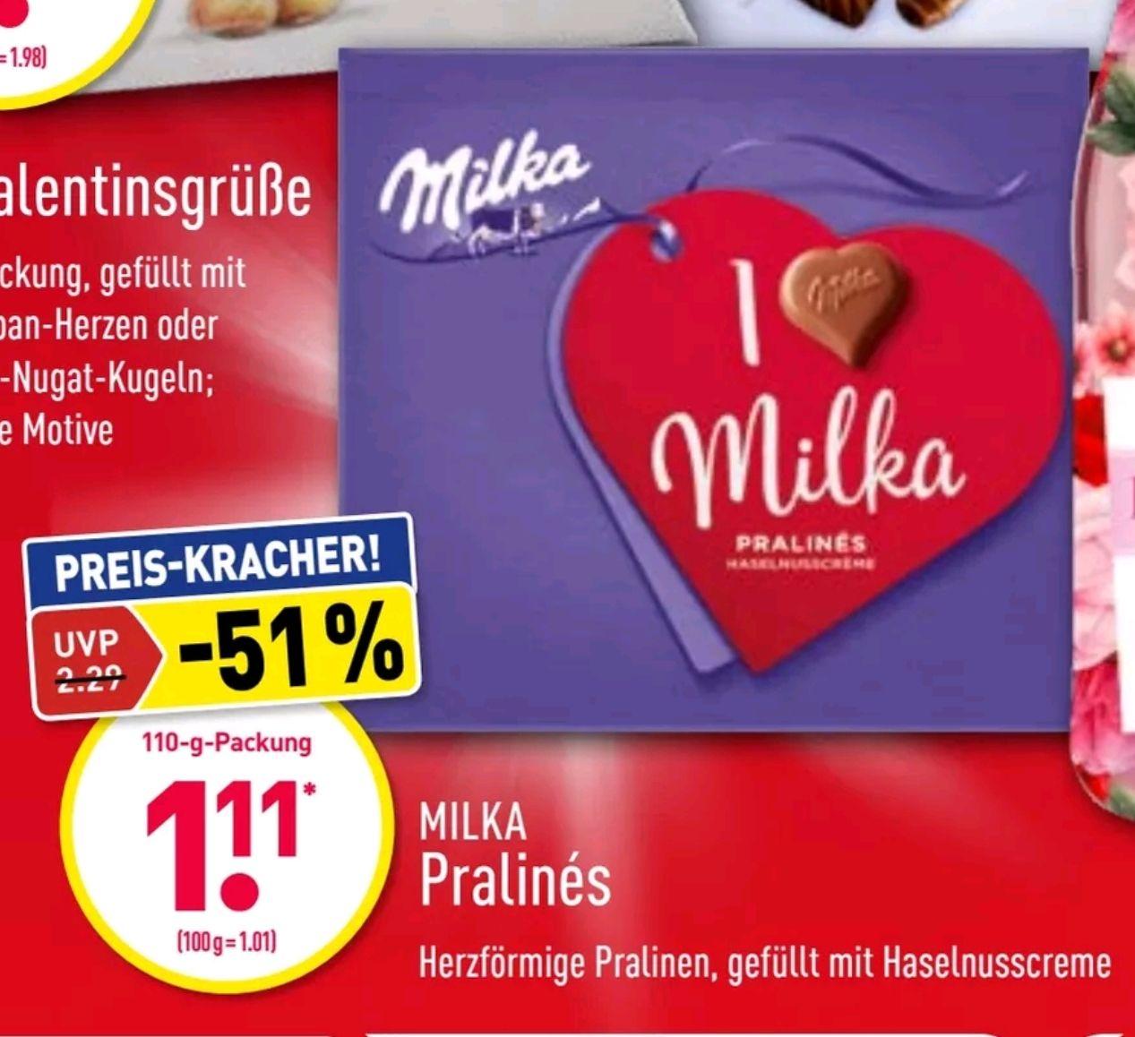 Aldi Nord + Lidl I love Milka 110g., Haselnusscreme