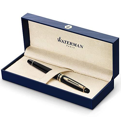 [Amazon Prime] 1/2: Waterman Expert Tintenroller | Hochglänzend Schwarz mit Zierteile aus 23 K Gold| feine Spitze | Schwarz | Geschenkbox