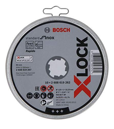 Bosch Professional 10 Stück gerade Trennscheibe Standard (für Inox, X-LOCK, Ø125 mm, BohrungsØ: 22,23 mm, Dicke:1 mm) (Prime)