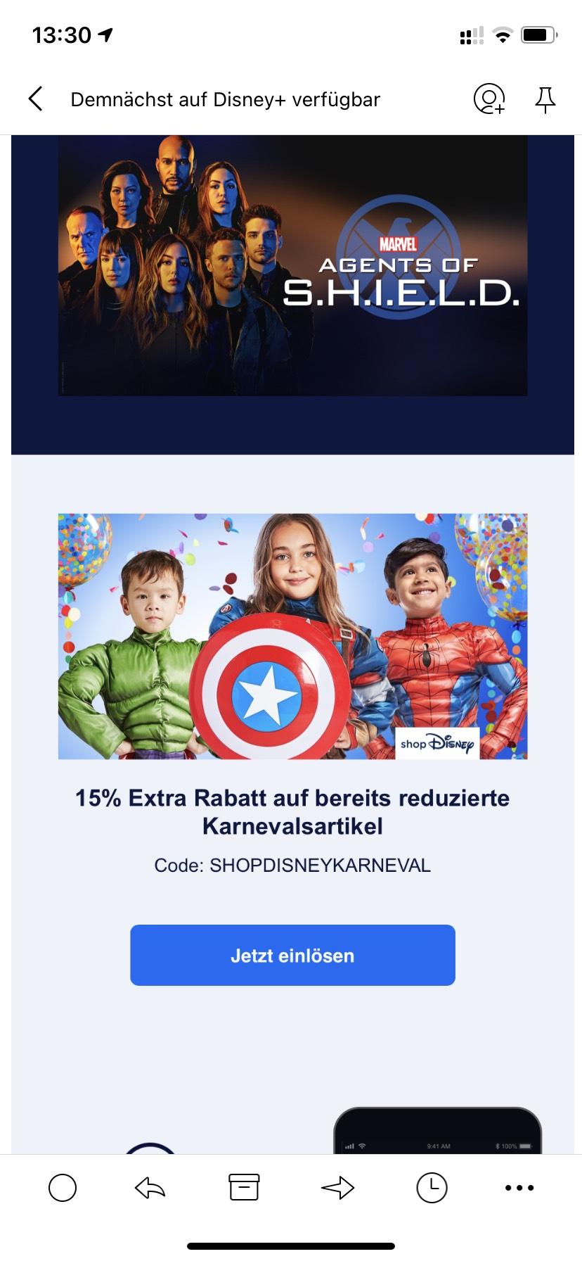 15% extra im Disney Shop auf Karnevalsartikel