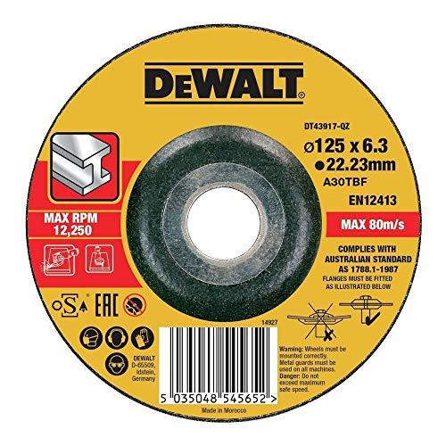 (Prime) DeWALT DT43917-QZ Schruppscheibe Metall gekr 125x6,3mm, Schwarz/Gelb