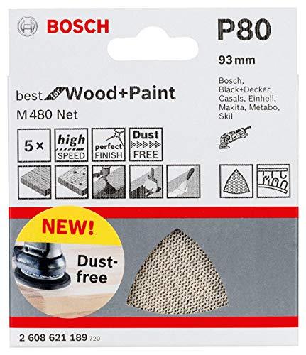 (Prime) Bosch Professional 5 Stück Schleifdreieck M480 Best for Wood and Paint (Holz und Farbe, Körnung P80, Zubehör Deltaschleifer)