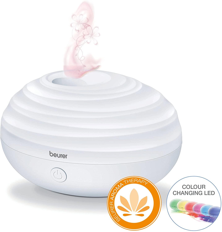 Beurer LA 20 Aroma Diffuser (80ml Aromaöl-Tank, zuschaltbares LED-Farblicht, Betrieb per USB, Steckernetzteil enthalten)
