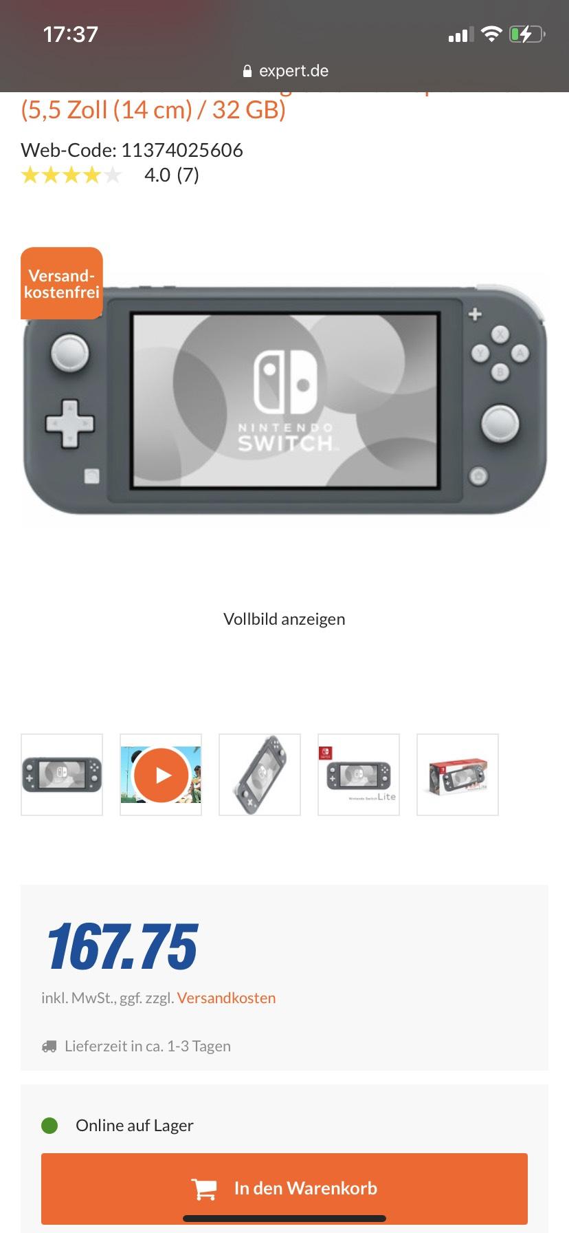 Nintendo Switch Lite grau unter 169€!