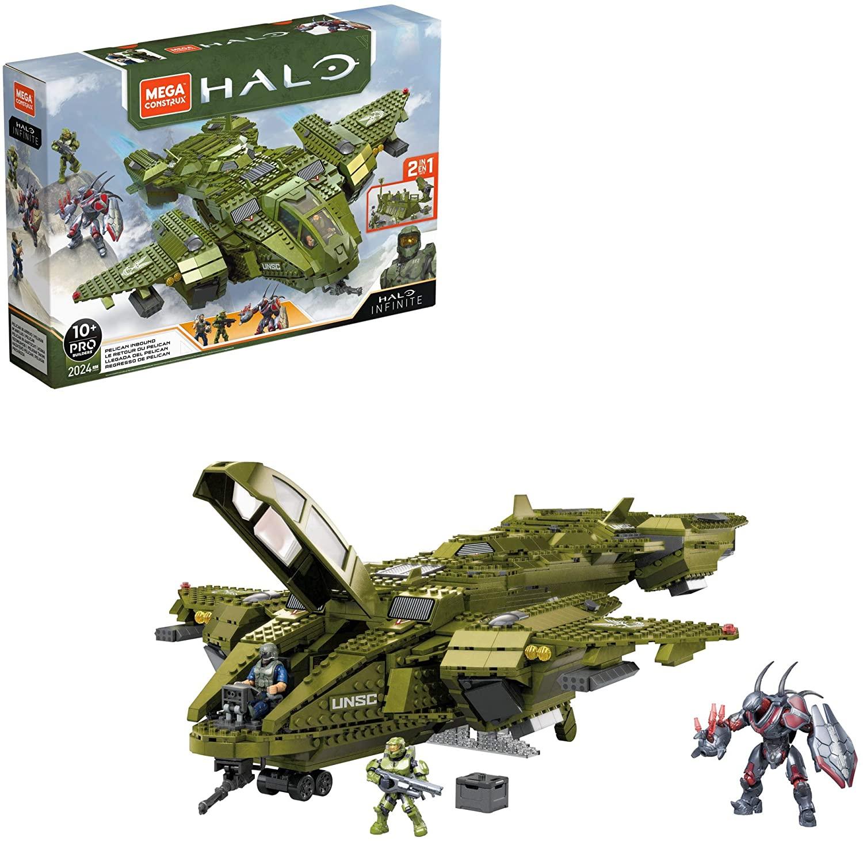Mega Construx GNB28 Halo Infinite UNSC Pelican-Flugschiff, mit 2024 Klemmbausteinen,