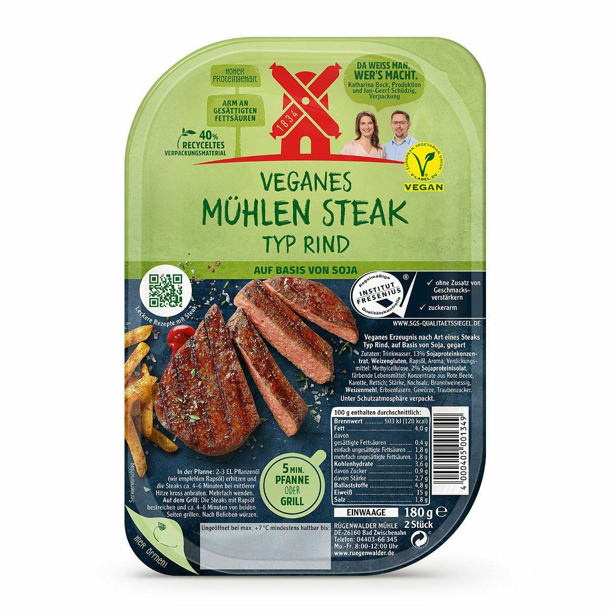 Rügenwalder Mühle Vegan Steak Typ Rind o. Vegan Filet Typ Hähnchen [Lidl]
