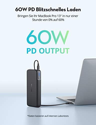 RAVPower PD 60W + QC3 Powerbank mit 20000mAh inkl. USB-C Kabel (Amazon)