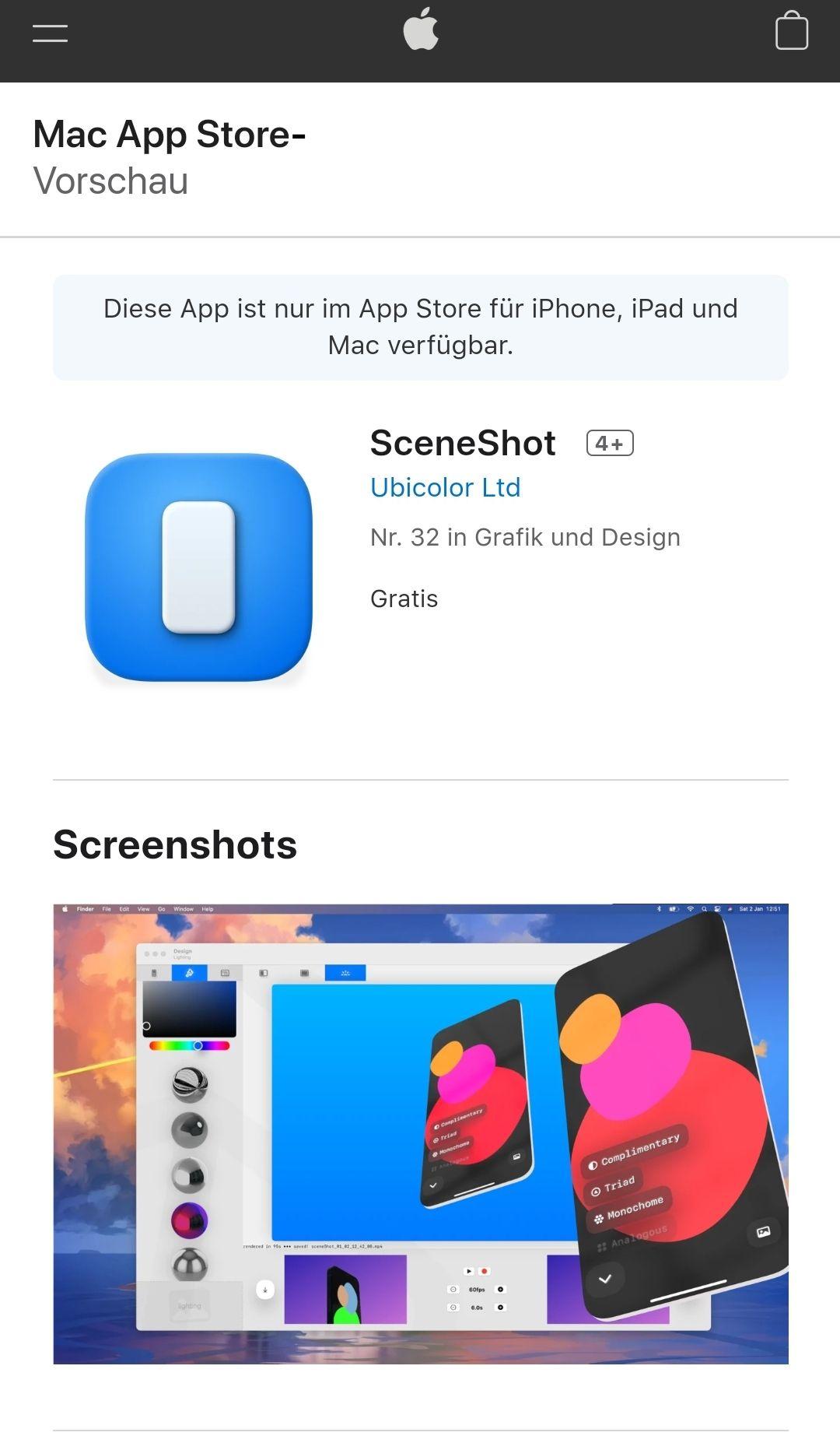 SceneShot iOS/iPadOS App und macOS