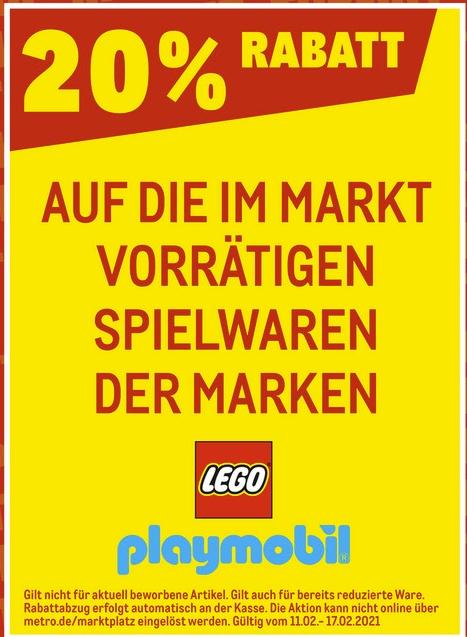 [Metro ab 11.02-Nur mit Metro Karte] 20% Rabatt auf playmobil,Lego,Hasbro und Mattel