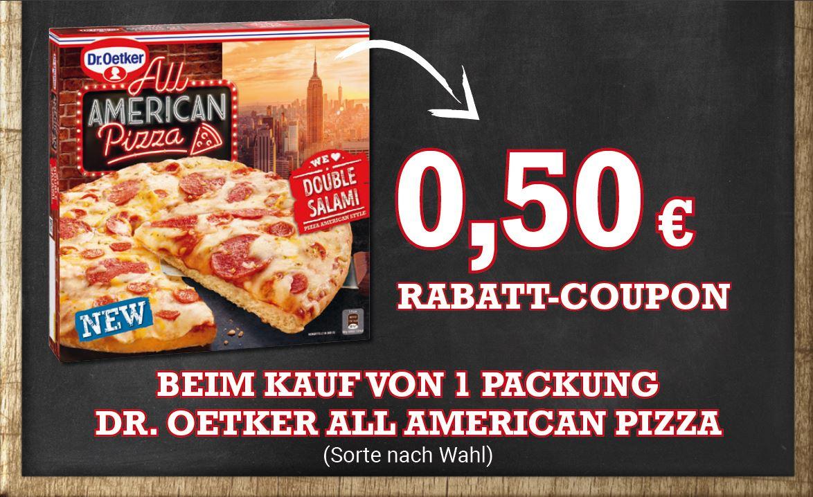 Dr. Oetker All American Pizza 0,50€ Coupon für Rewe bis 31.03.2021
