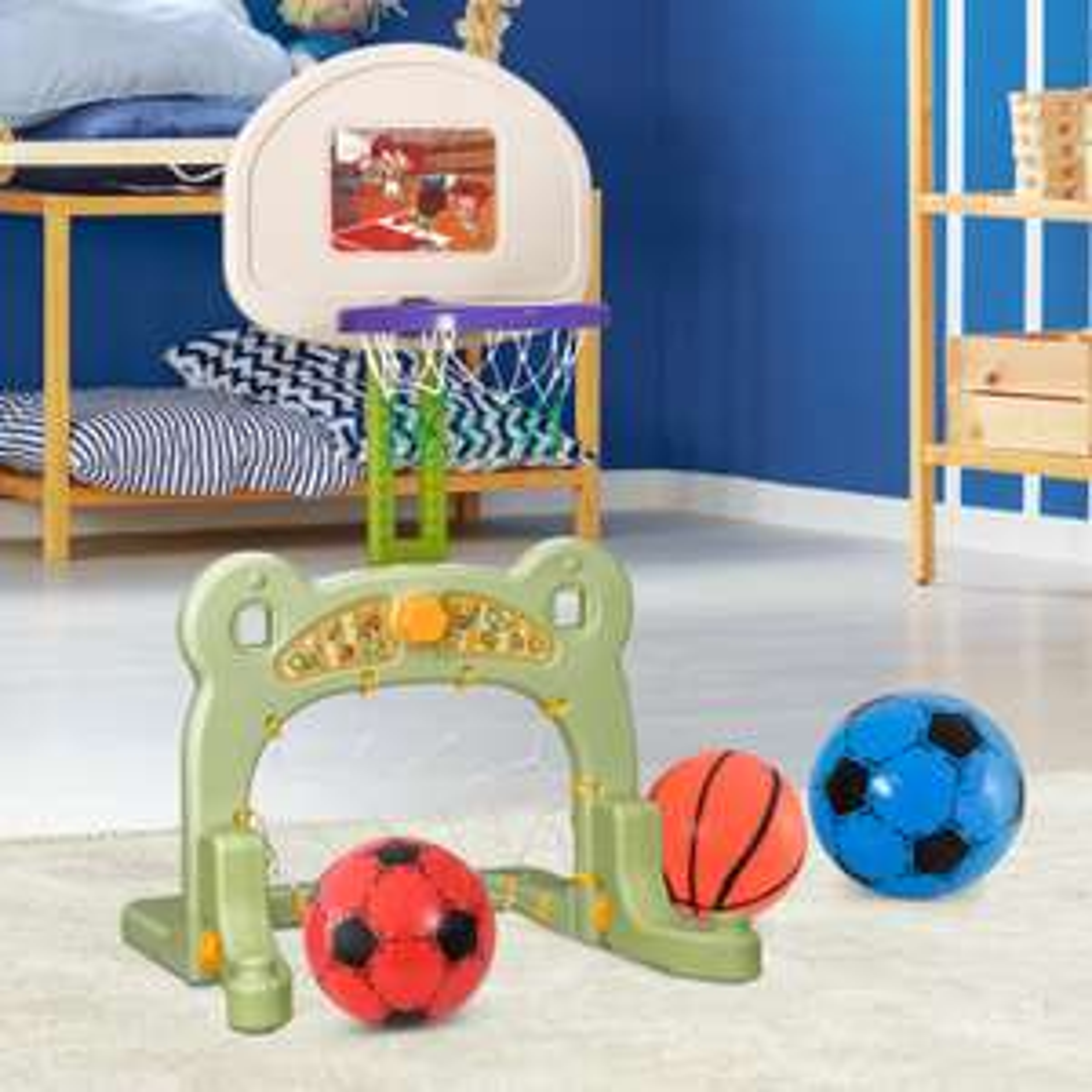 HOMCOM® 2 in 1 Fußball Basketball Basketballkorb Kinder Spielzeug
