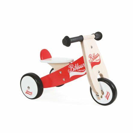 [babymarkt.de] Janod Bikloon Holz-Laufrad, rot-weiß , Größe: 56 x 34 x 38 cm, Sitzhöhe 23 cm