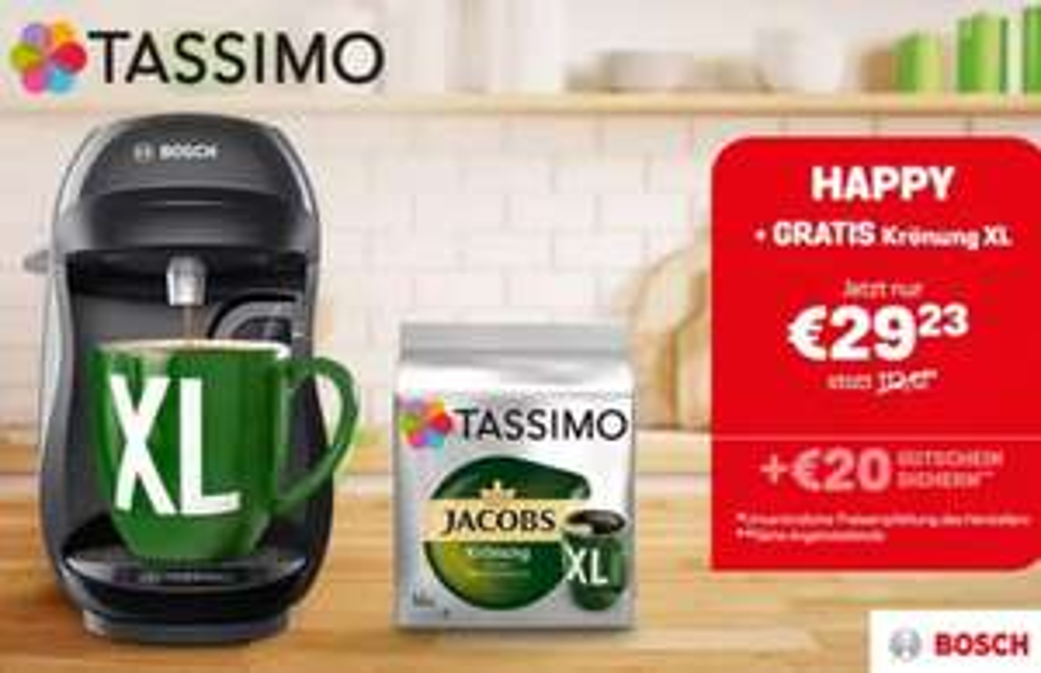 TASSIMO HAPPY inkl. GRATIS JACOBS KRÖNUNG XL sowie Gutscheinen im Wert von bis zu 20€