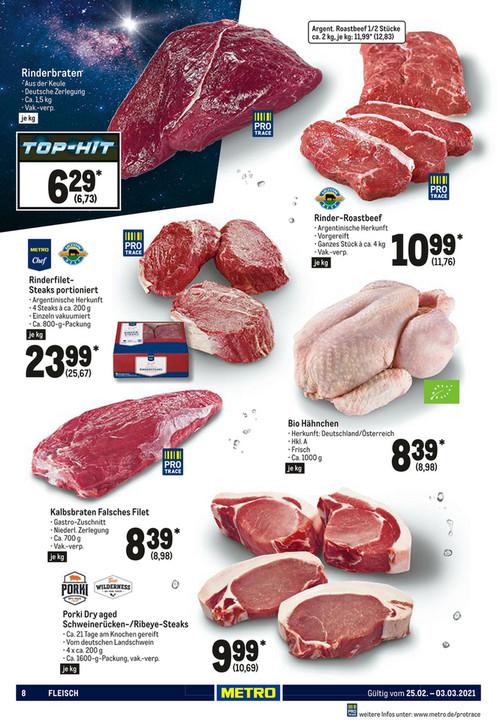 Metro: Argentinisches Rinder Roastbeef (Rumpsteak) 11,76€/Kg bei ganzen Stücken (ca.4kg)