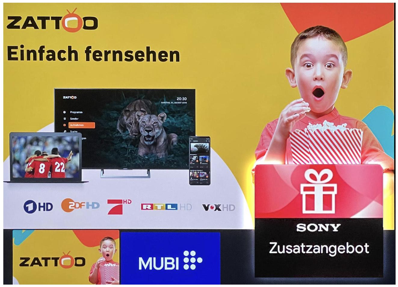 [Sony TV] Zattoo Ultimate 2 Monate gratis + 90 Tage MUBI für 1€ in der Sony TV Zusatzangebots App