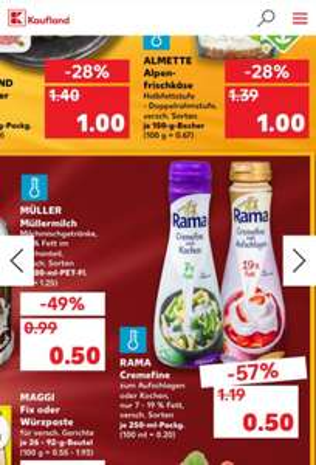 Rama Cremefine für 0,10€ dank Cashback bei Kaufland ab 04.02.