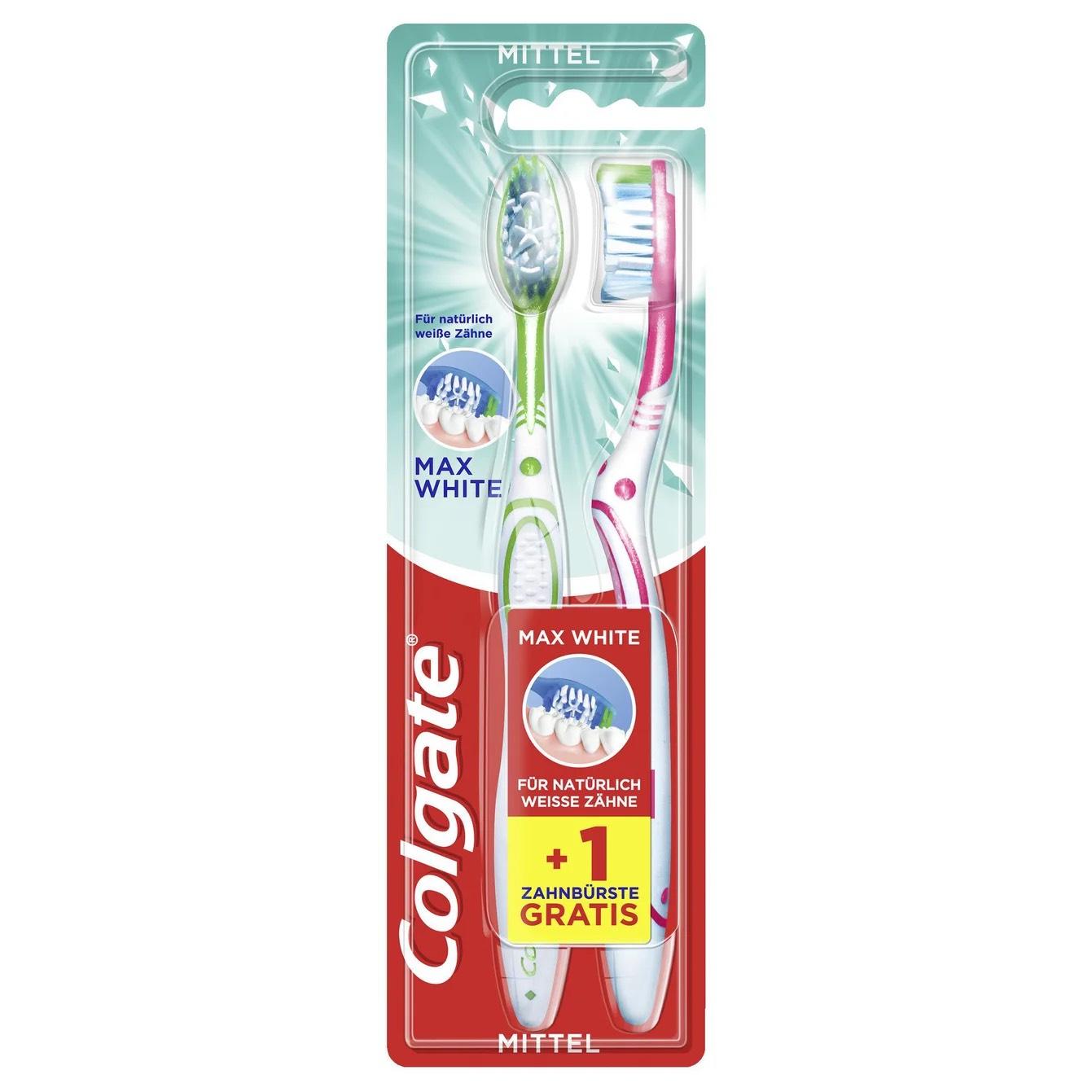 (@amazon prime & offline @rossmann) 2 Stück Colgate Max White Medium Zahnbürste je 0,49€ / 3x Colgate Extra Clean Zahnbürste je 0,48€