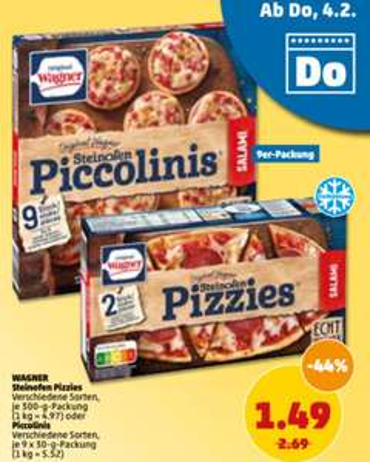 Wagner Pizzies 300g für 1,49€ + 0,50€ Scondoo Cashback 5x pro Sorte = 0,99€ [PENNY bis Sa. // ALDI SÜD ab Mo.]