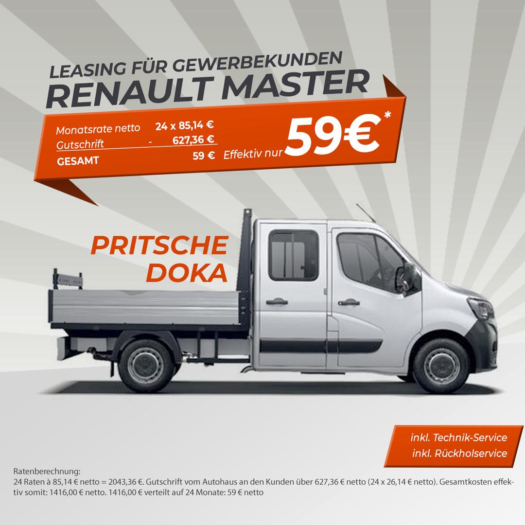 Gewerbeleasing Renault Master Pritsche 59 € netto pro Monat