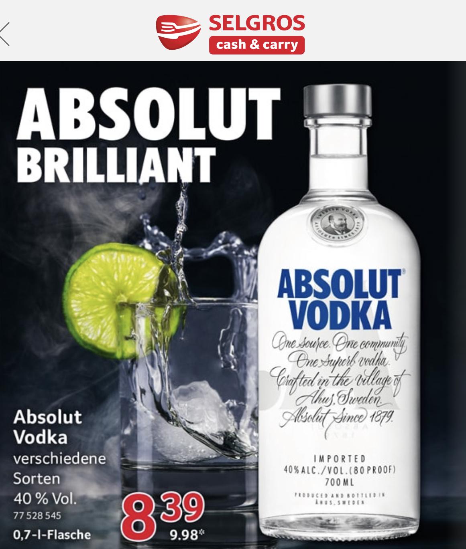 Absolut Vodka alle Sorte bei Selgros für 9,98€ -bundesweit-