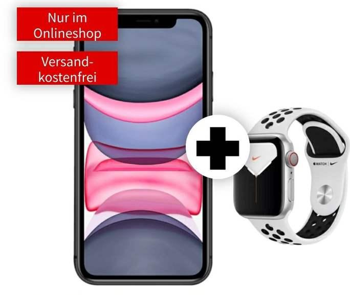iPhone 11 und Watch Series 5 Nike 44mm Cellular (Platin) im O2 Free L Boost (120GB 5G, Connect, VoLTE und VoWiFi) mtl. 44,99€ einm. 149€