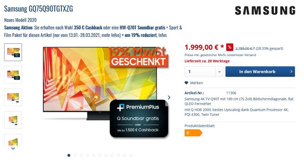 Samsung GQ75Q90T + 350 Euro Cashback oder Soundbar