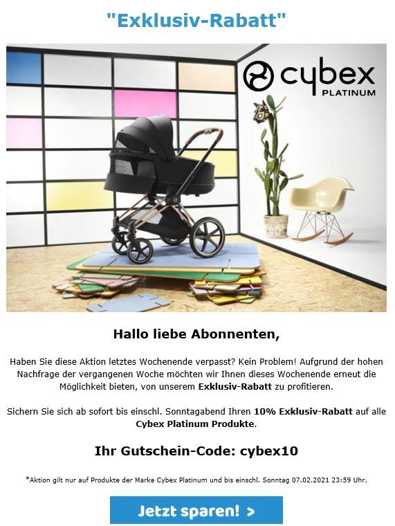 10% auf alle Cybex Platinum Produkte (Beispiel: Sirona Z i-Size Plus)
