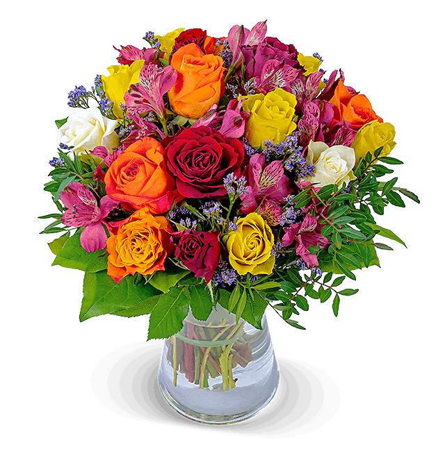 """Lieferung zum Valentinstag: Blumenstrauß Rosenmix """"Farbwunder"""" (10 bunte Rosen, 5 bunte Inkalilien, Statice, Chico, Lederfarn)"""