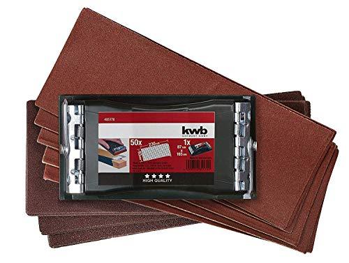 (Prime) kwb Handschleifer-Set – 2-tlg. inkl. Schleifklotz mit Klemmvorichtung und Schleifpapier 93 mm x 230 mm (50 Stk.)