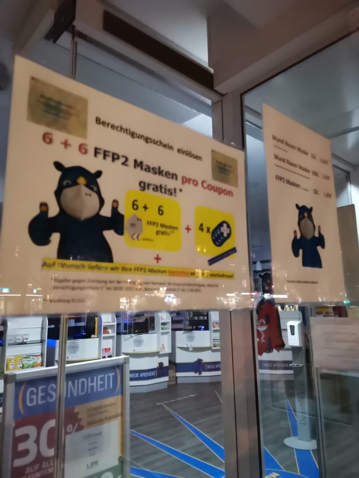 [LOKAL Duisburg] Berechtigungsschein: 12 FFP2-Masken pro Coupon + Münzen im Wert von 2€