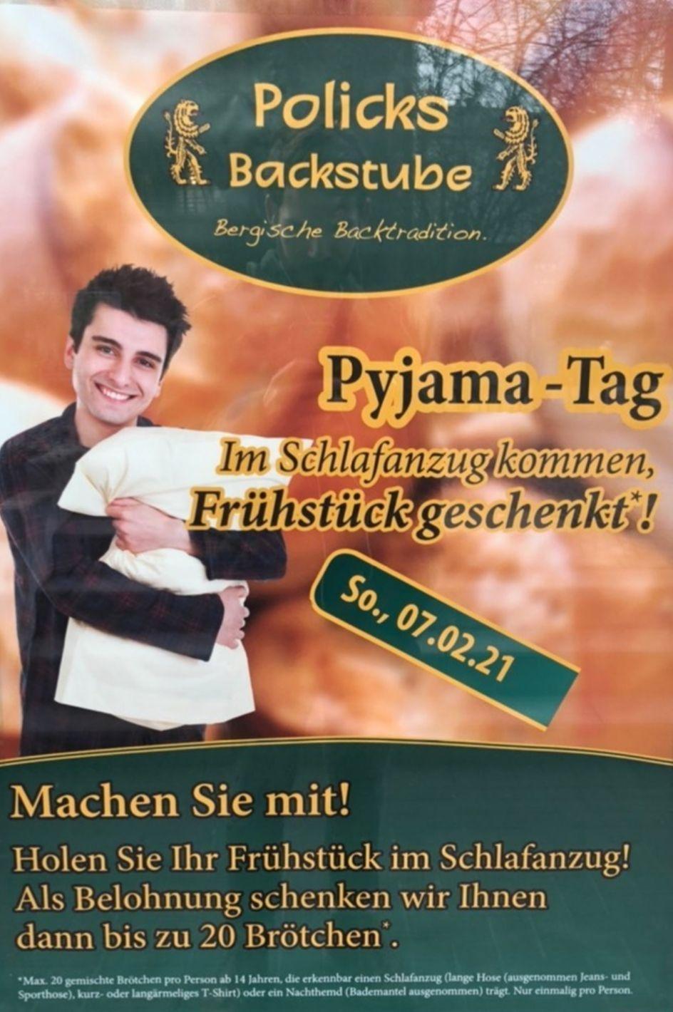[Lokal Wuppertal] 20 Brötchen beim Bäcker kostenlos (Bedingung: Schlafanzug) - freebee