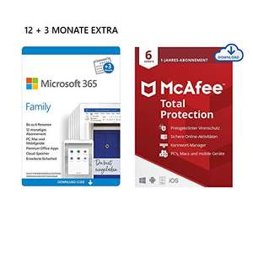Microsoft 365 Family | 6 Nutzer | 15 Monate + 12 Monate McAfee Total Protection 2020 oder Norton Deluxe 360