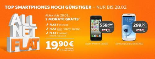 Samsung Galaxy S3 für 299 € in Verbindung mit der Simyo All Net Flat für 19,90 € mit 2 Monate Gratis