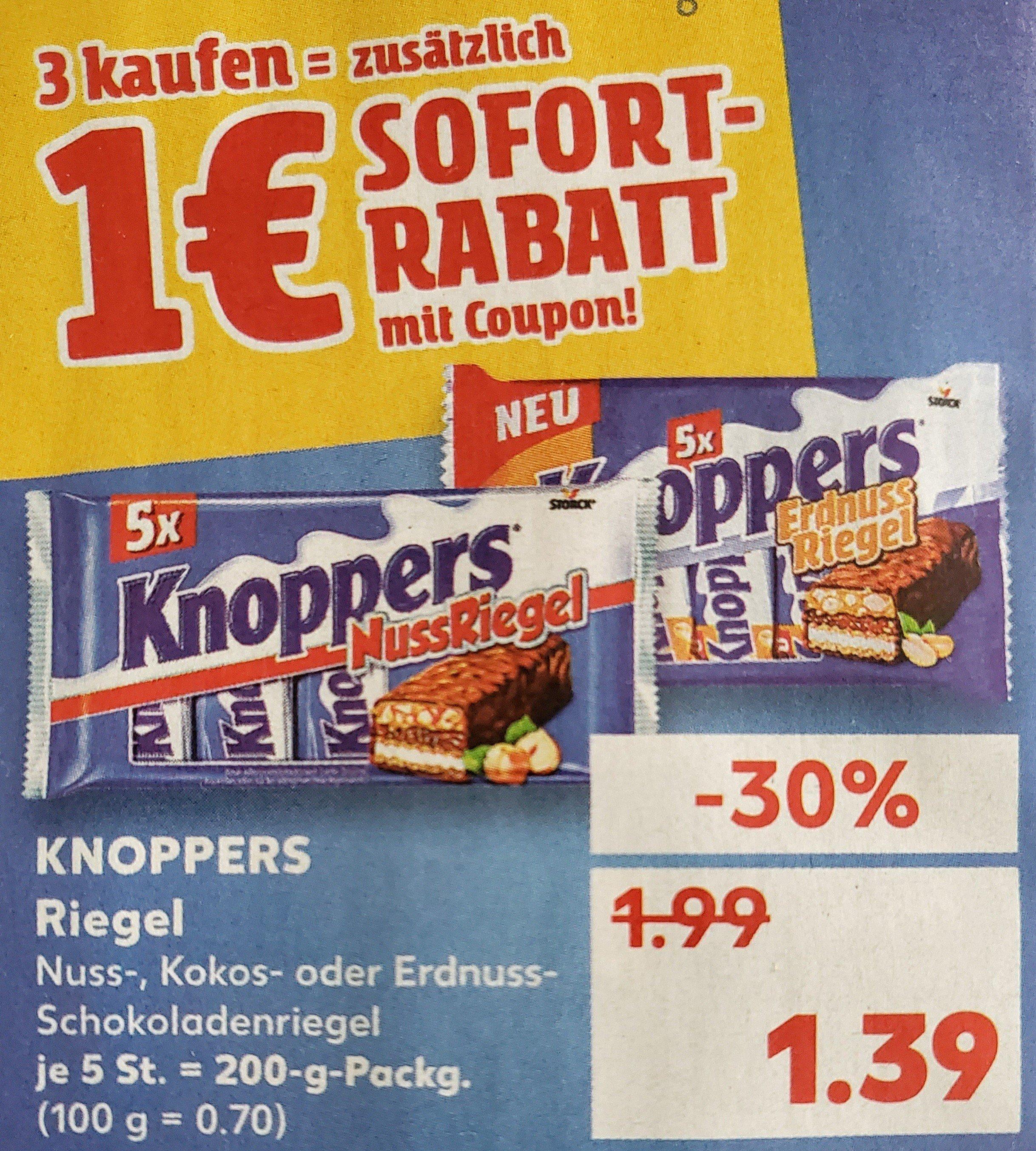 3x KNOPPERS Riegel (verschiedene Sorten) für 3,17 € mit Coupon bei Kaufland (1,06 €/5er-Packung)