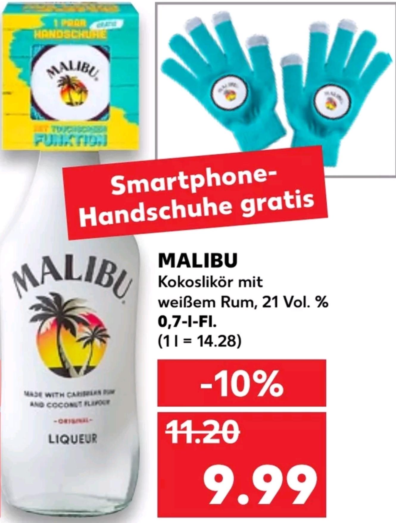 (Kaufland Lokal) MALIBU Kokoslikör mit weißem Rum und Smartphone Handschuhe gratis dazu