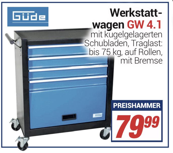[Centershop] Güde Werkstattwagen GW 4.1 Werkzeugwagen Werktisch 4 Schubladen (Lokal) Bonus: Schogetten