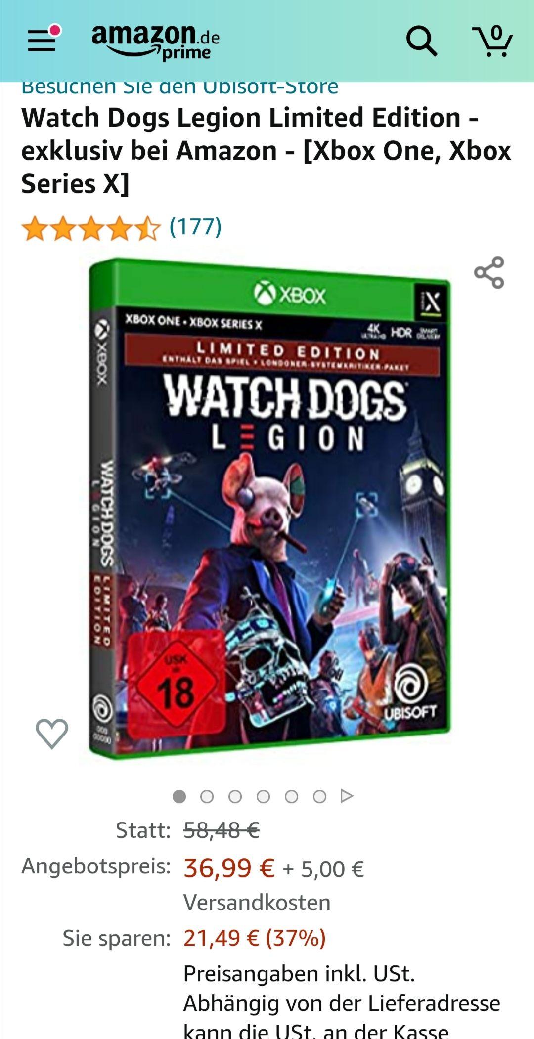 Watch Dogs Legion limited edition Xbox One