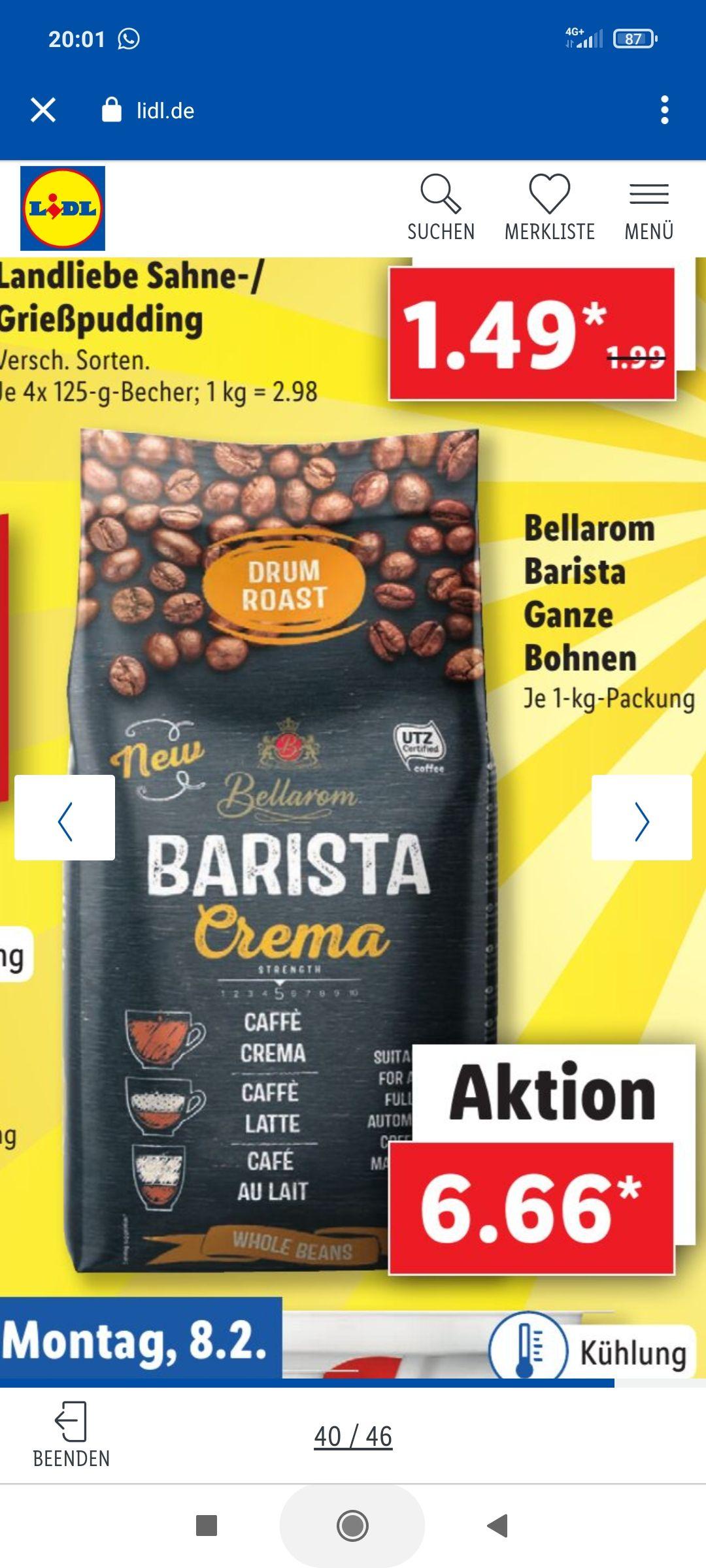 1 kg Kaffee Bellarom Barista Ganze Bohnen, trommelgeröstet