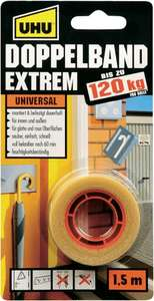 [Kaufland ab 18.02] UHU Doppelband extrem, 1,50m.Tragkraft bis zu 120KG für 2,99€
