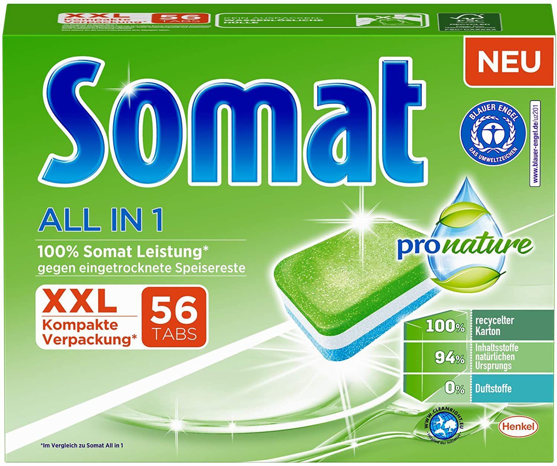 [Prime Sparabo] Somat All in 1 Pro Nature Spülmaschinen-Tabs, 56 Tabs, umweltfreundlich (10c/Tab)